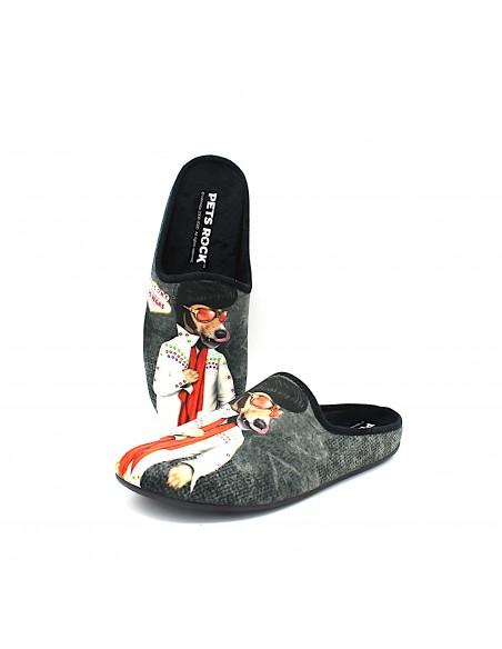 Pantofole da uomo invernali per casa calde con stampa Pets Rock