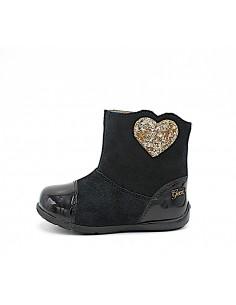 GEOX scarpe Bambina Stivaletti Primi Passi B8451C Kaytan camoscio nero con cuore
