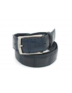 Cintura da uomo in pelle multi blu con fibbia in metallo iBaps