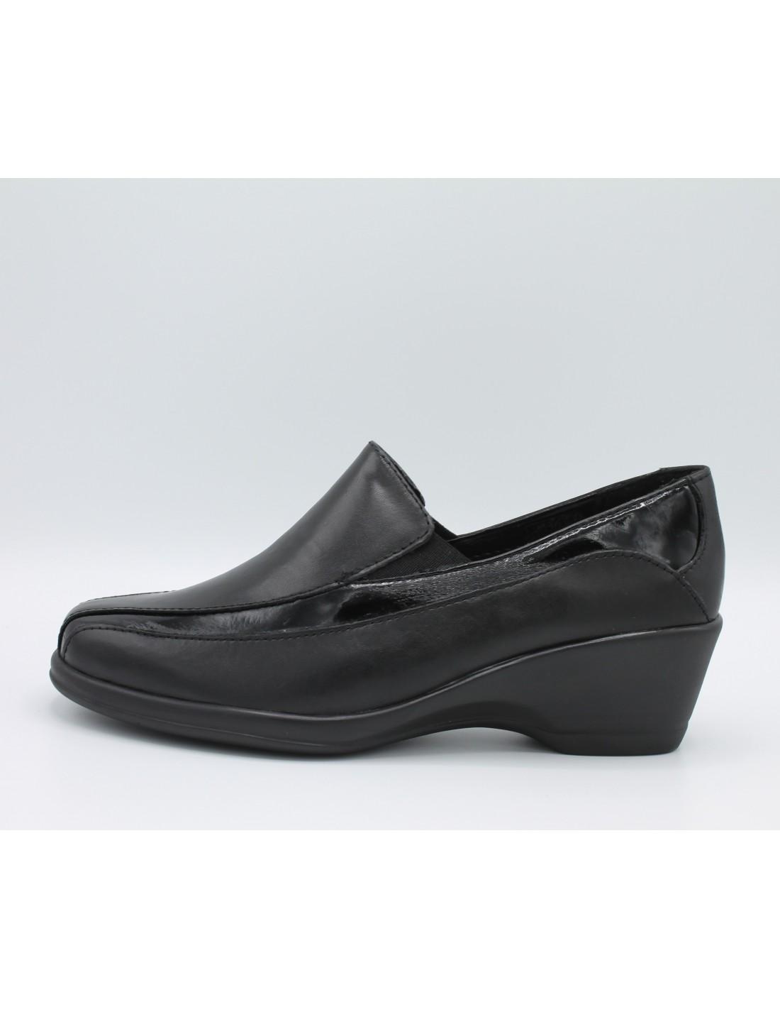 Cinzia soft scarpe donna con zeppa comoda in gomma in pelle e vernice nero IV6820 Angela Barba