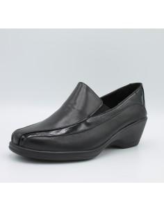 Cinzia soft scarpe donna con zeppa comoda in gomma in pelle e vernice nero IV6820