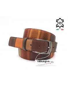 Cintura da uomo in pelle multicolore marrone con fibbia in metallo iBaps