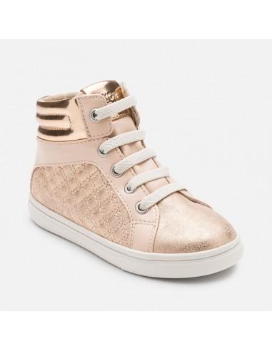 219076a23751 Mayoral scarpe bambina con zip e lacci elastici color rame 44749 46749 48749