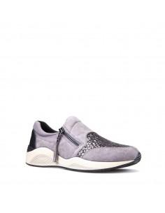 Geox scarpe donna, sneakers slip-on in camoscio grigio linea omaya art. D620SA