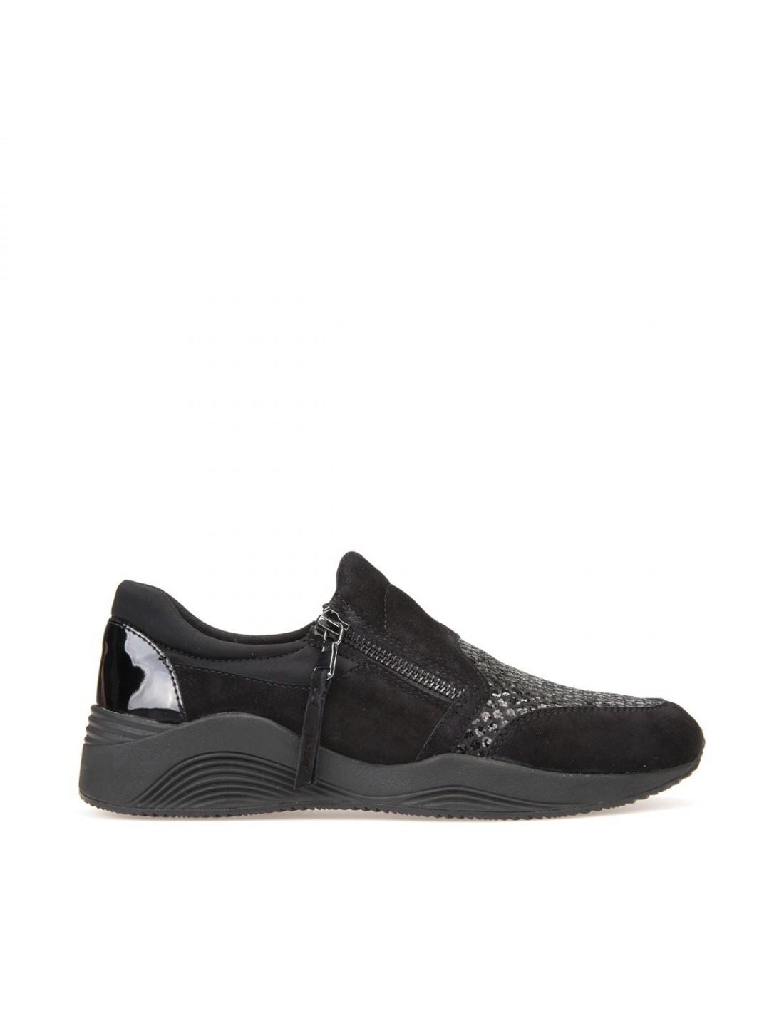 Geox scarpe donna, sneakers slip on in camoscio grigio linea