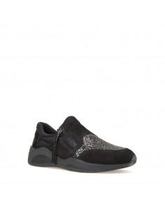 Geox scarpe donna, sneakers slip-on in camoscio nero linea omaya art. D620SA