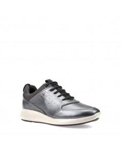 Geox scarpe donna, sneakers in pelle e tessuto dk grey linea ophira art. D621CB