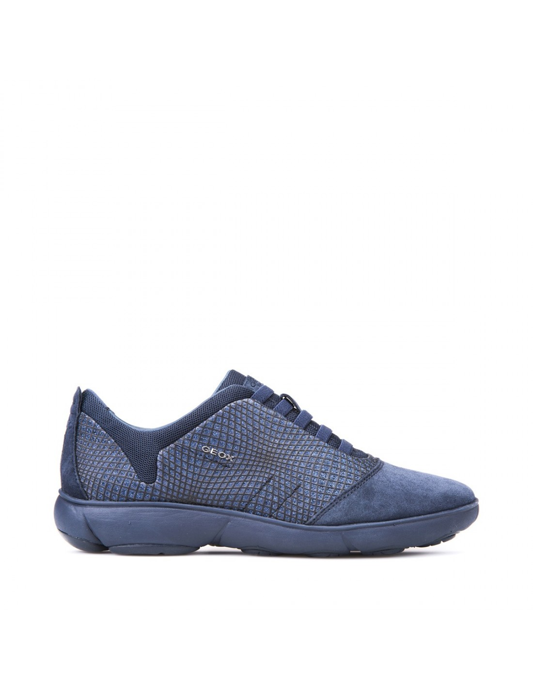 Geox scarpe donna sneakers slip on in camoscio navy linea nebula D741EA, comode Angela Barba