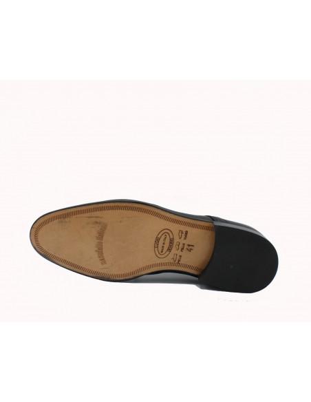 Made In Italy 1720 scarpe uomo classiche eleganti in pelle nero suola in cuoio
