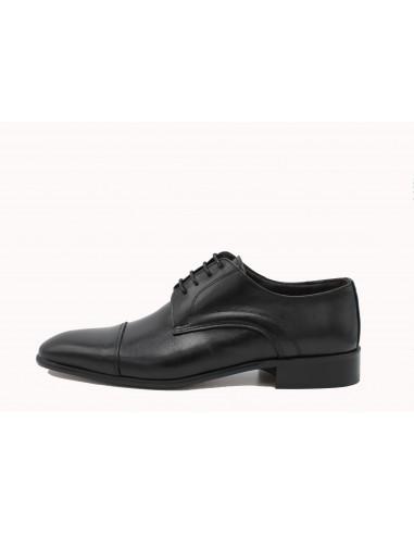 MADE IN ITALY 1705 scarpe uomo classiche eleganti in pelle nero suola in cuoio