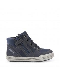 Geox Elvis J64A4B scarpe junior sneakers alte in pelle con lacci e zip