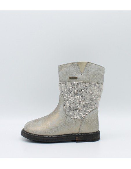 Geox Glimmer B44d6F stivaletto bimba in pelle laminato grey e tessuto con pailletes