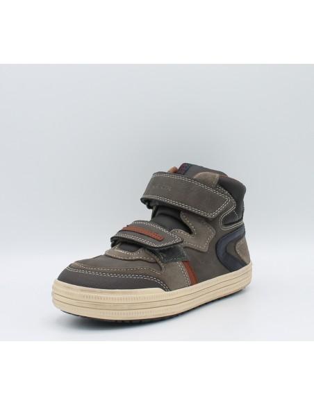 Geox Elvis J54A4E scarpe bimbo sneakers alte in pelle con strappi brown/navy