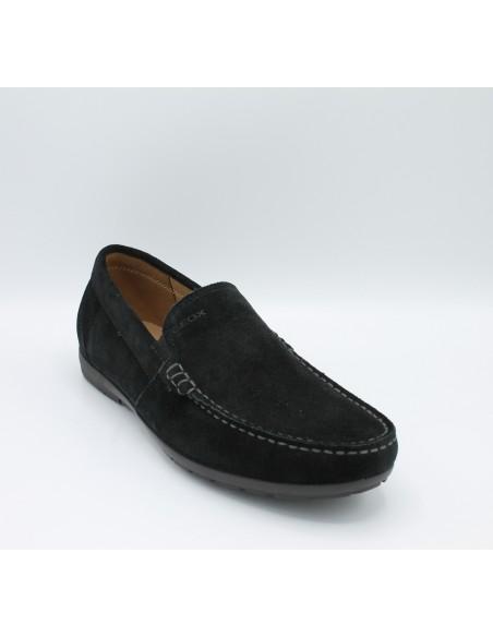 Geox Simon U34R1C scarpe uomo mocassini in morbido camoscio nero suola in gomma