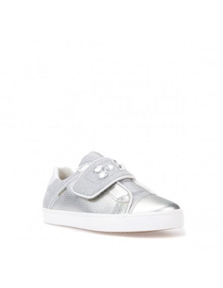 GEOX J82D5G JR KILWI GIRL scarpe bambina ragazza in tessuto argento con strass