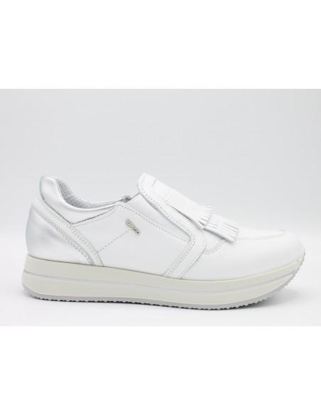 IGI & CO. DKU 11539 scarpe donna slip-on in pelle bianco e argento con frange
