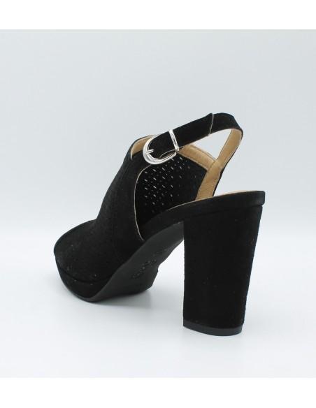 IGI & CO. DVE 1168300 sandali donna con tacco e plateau in camoscio forato nero