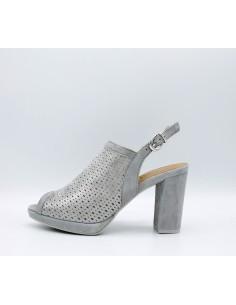 IGI & CO. DVE 1168311 sandali donna con tacco plateau in camoscio forato acciaio
