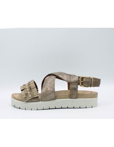 IGI CO. DSN 1177133 sandali donna con zeppa in pelle laminato beige con frange