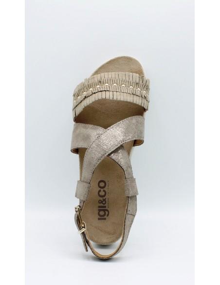 IGI & CO. DSN 1177133 sandali donna con zeppa in pelle laminato beige con frange