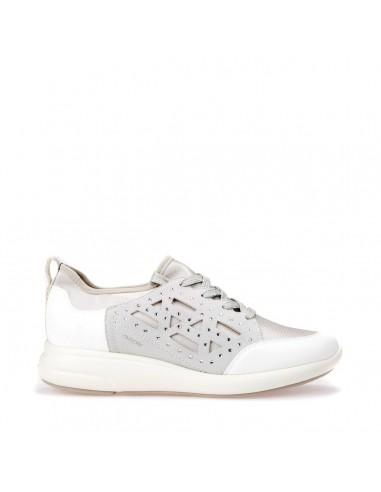 GEOX OPHIRA D821CB Scarpe donna sneakers con tomaia elasticizzata e strass white