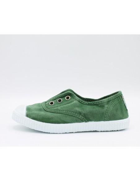 "CIENTA 70777 Sneakers profumate da bambini in tela canvas verde effetto ""used"""