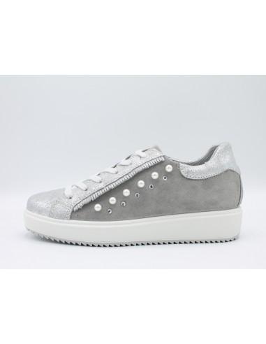 IGI & CO. DHN 11487200 scarpe donna sneakers in pelle argento con perle e strass