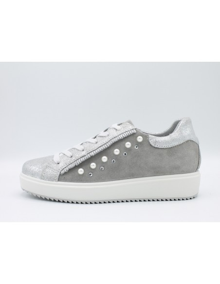 IGI & CO. DHN 1148722 scarpe donna sneakers in pelle argento con perle e strass