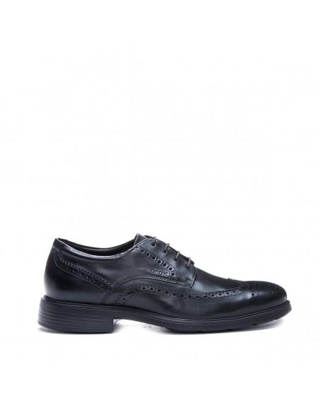 Geox scarpe uomo nero, linea dublin, modello derby con impunture all'inglese U34R2B