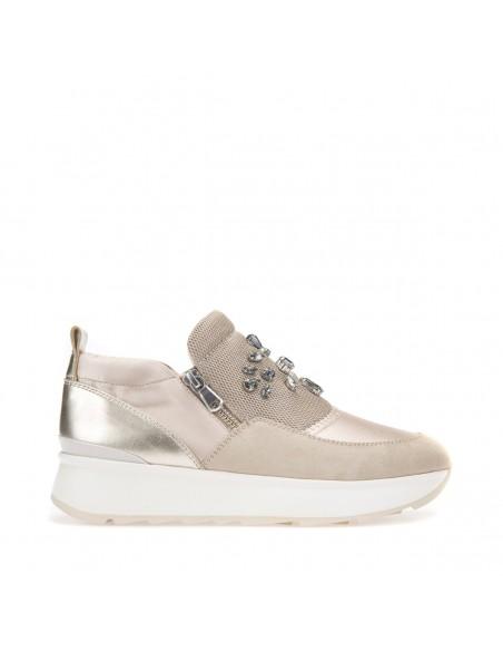 GEOX GENDRY D745TA Scarpe donna sneakers in pelle e tessuto beige oro con strass