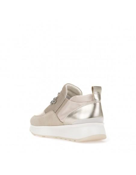 GEOX GENDRY D745TA Scarpe donna sneakers in pelle e tessuto grigio chiaro strass