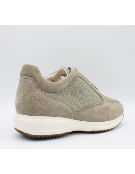 GEOX HAPPY U4162G Scarpe uomo sneakers in camoscio e tessuto con suola rialzata