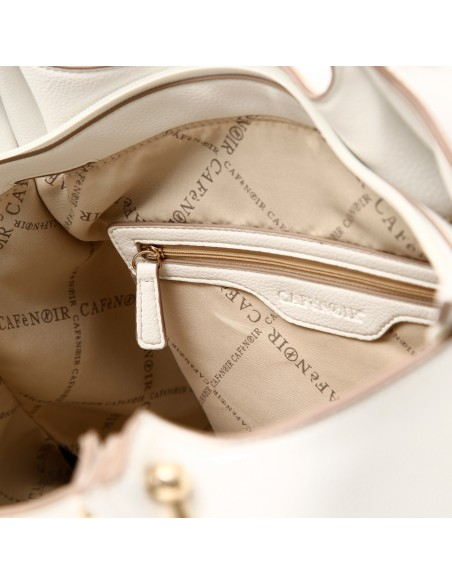 CAFè NOIR BQ001 Borsa da donna sacca in similpelle bianco cuciture in contrasto