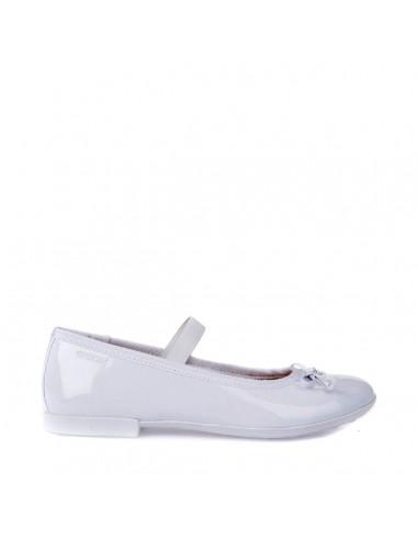 GEOX PLIE' J5455I Scarpe bambina ragazza ballerine con elastico in vernice bianco