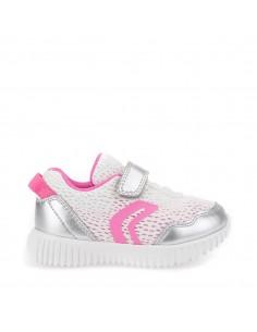 Geox B821XB WAVINESS Scarpe bambina sneakers in tela Bianco Argento super leggere