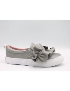 GIOSEPPO 43910 Scarpe bambina donna sneakers slip-on con volant in pelle Argento