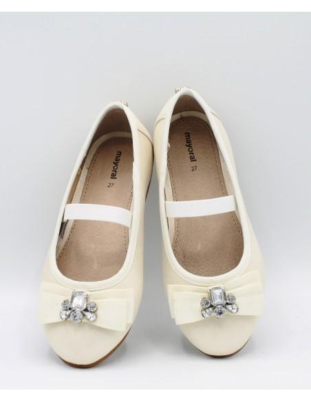 MAYORAL 43863 45863 Scarpe bambina ballerine cerimonia beige con fiocco e strass