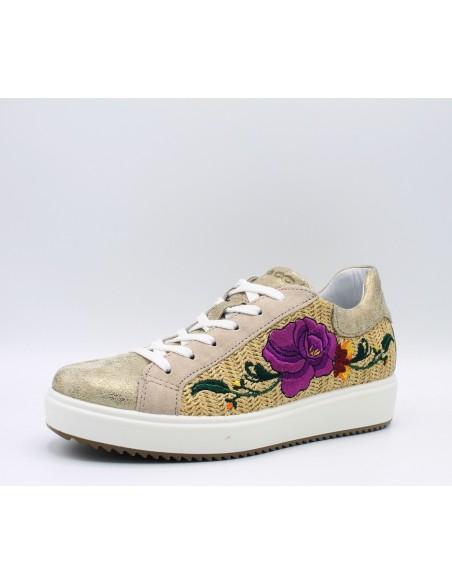 IGI & CO. DHN 1148400 scarpe donna sneakers in pelle platino con fiore ricamato