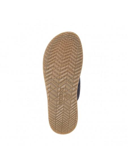 GEOX Artie U82V1C Sandali uomo pantofola a incrocio in camoscio e tessuto Blu Navy