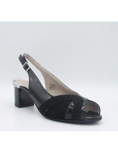 CINZIA SOFT Sandali donna eleganti linea comoda in camoscio e vernice nero IAB292318