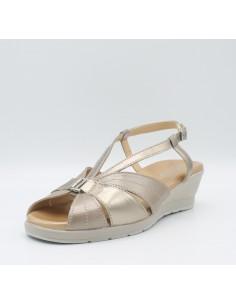 CINZIA SOFT IO803 Scarpe donna sandali linea comoda in pelle laminato oro perla