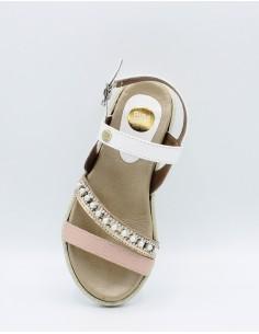 GIOSEPPO 43635 Sandali in pelle bambina ragazza multi fasce con perline bianco