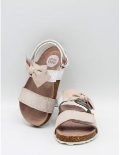 GIOSEPPO 43663 Sandali bambina in pelle bianco e rosa con grosso fiocco rosa