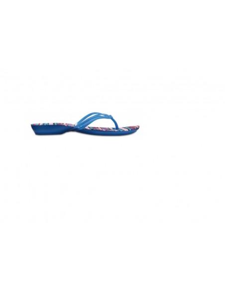 Crocs Isabella Graphic Flip 204196 Infradito donna blu con suola multi fantasia