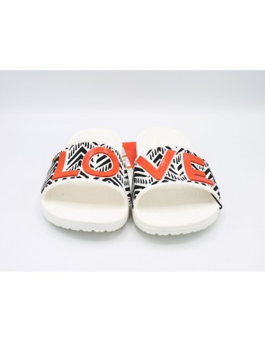 Crocs Drew Barrymore Sloane Tribal Slide Love pantofola donna in bainco nero