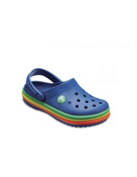 CROCS Crocband Rainbow Band sandali sabot bambino gomma Blu con band maulticolor