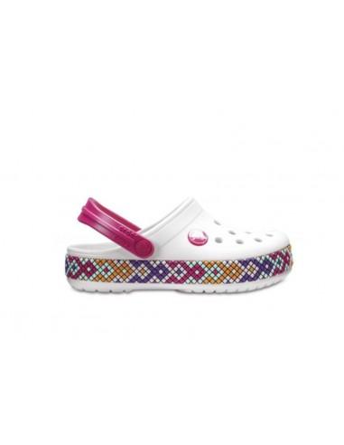 CROCS Crocband Gallery Clog sandali sabot bambina gomma Bianco band maulticolor