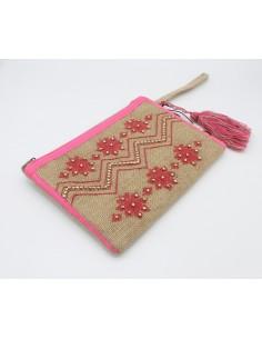 KOALA BAY Nadia Borsello a mano con cerniera in Juta con ricami rosa strass oro