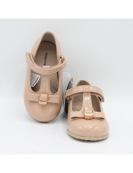 MAYORAL 42818 Scarpe bambina ballerina in verinice cipria con fiocco e cinturino