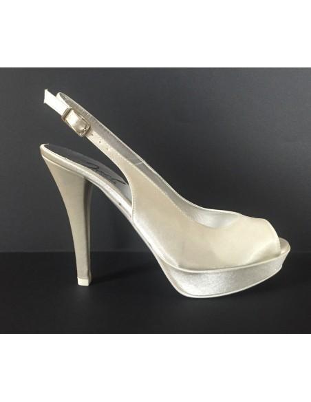 JOEL Scarpe Sposa sandali donna in raso Avorio con tacco alto e plateau